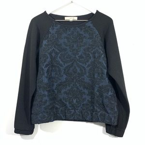LOFT Blue Black Damask Print Long Sleeve Top